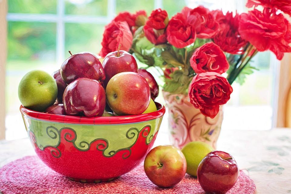 Alma, Vörös, Tál, Csendélet, Gyümölcs, Természetes